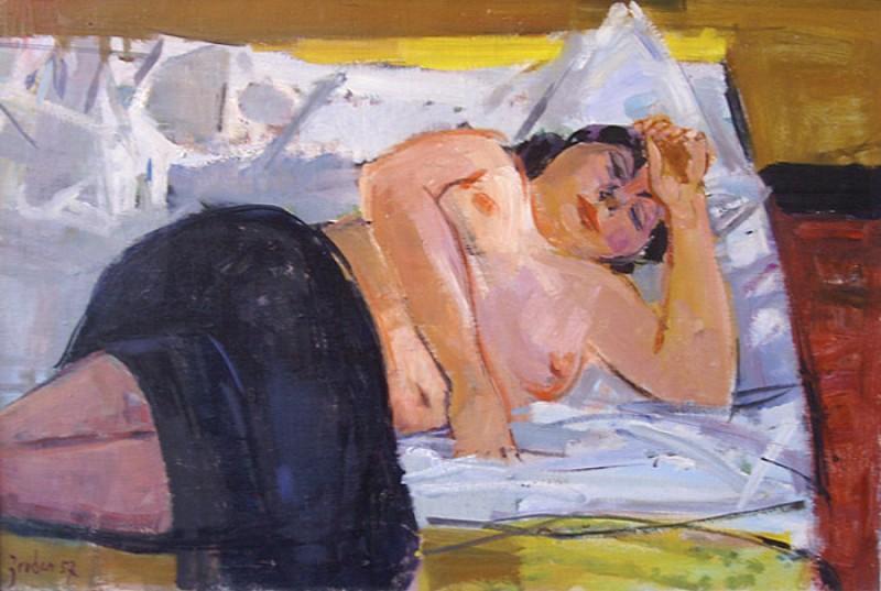 Liegender Halbakt, 1957