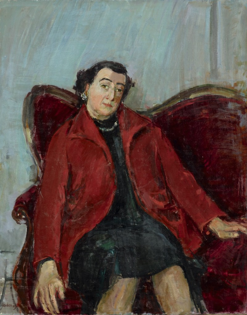 Porträt Frau mit rotem Mantel auf Sofa sitzend, 1947