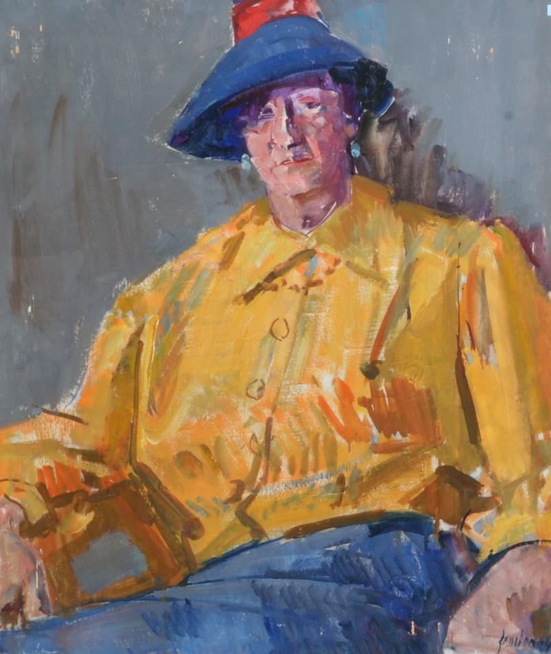 Porträt Frau mit blauem Hut, Fräulein Schneebeli, 1964