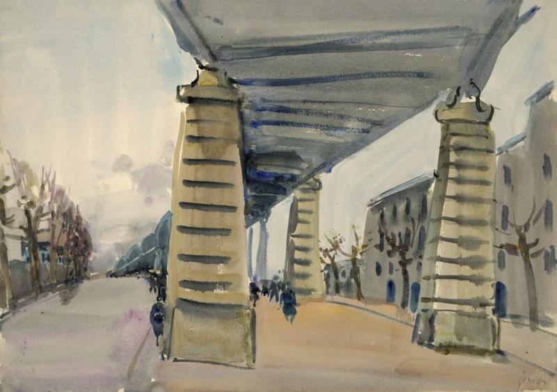Unter der Métro-Brücke in Paris