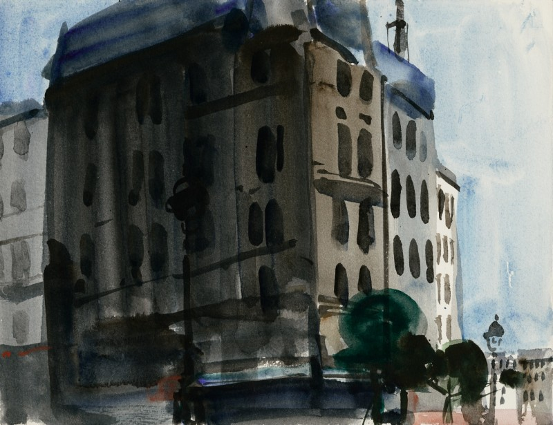 Stadtgebäude, verso Strassencafé