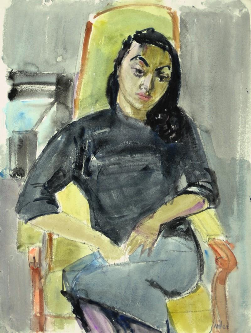 Portrait einer sitzenden Frau auf Voltair