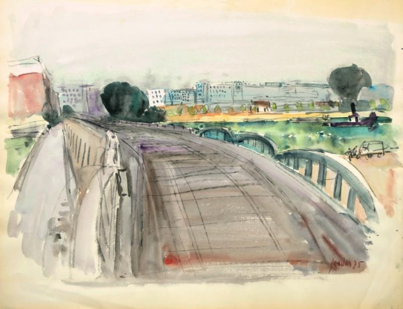 Landschaft mit Eisenbahnbrücke, 1975