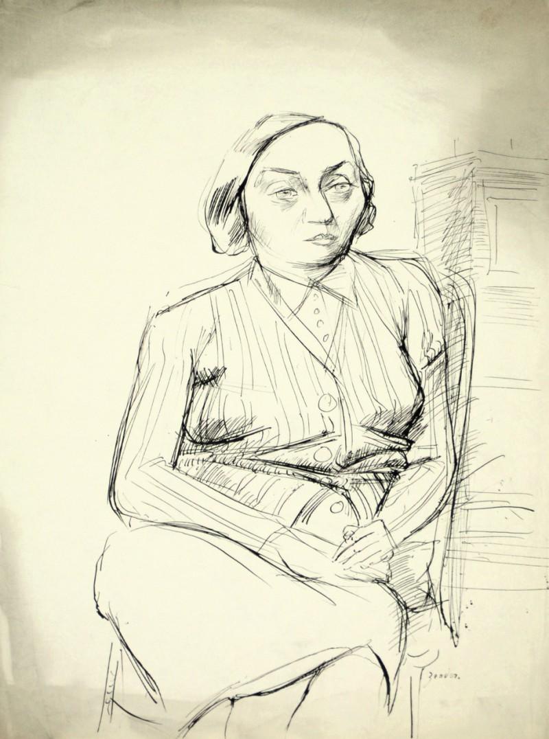 Porträt einer sitzenden Frau, verso unvollendete Skizze