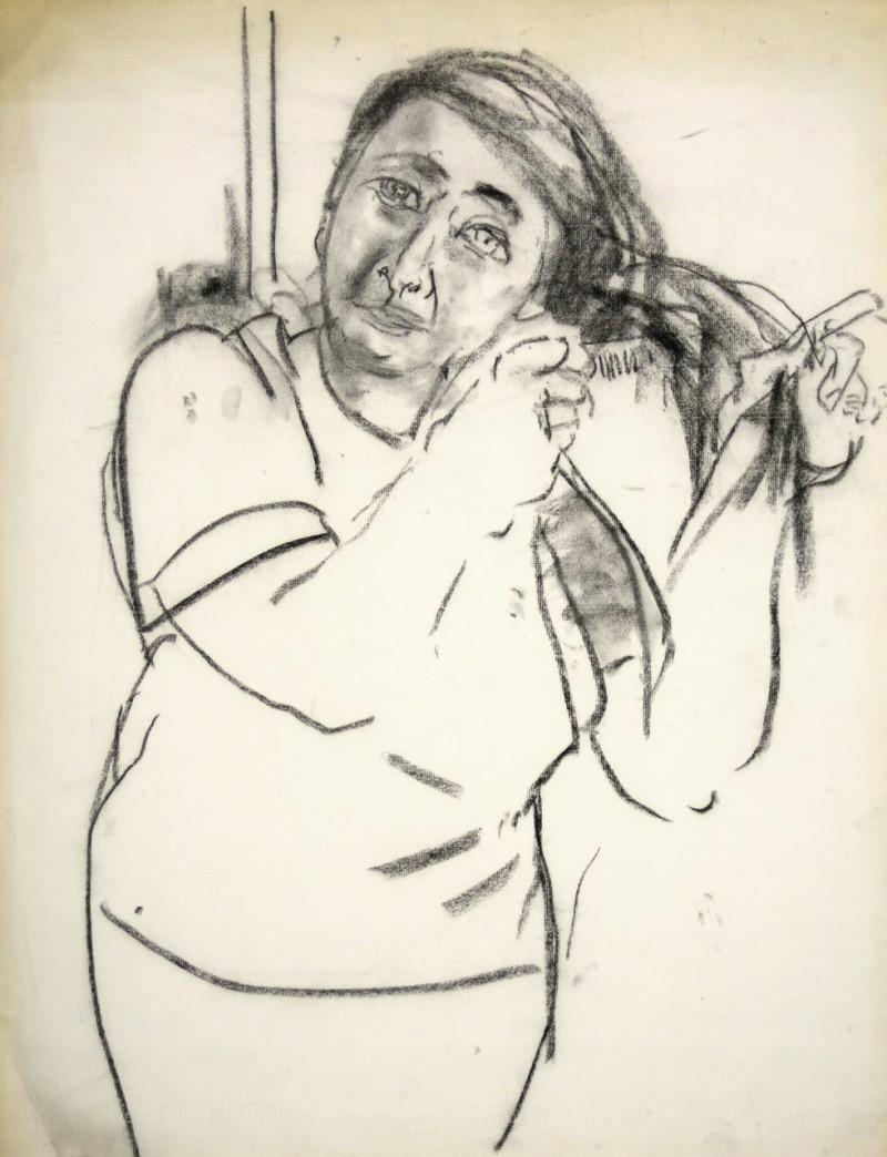 Porträt einer sich kämmenden Frau