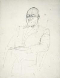 Portrait eines sitzenden Mannes mit Brille und Fliege, 1931