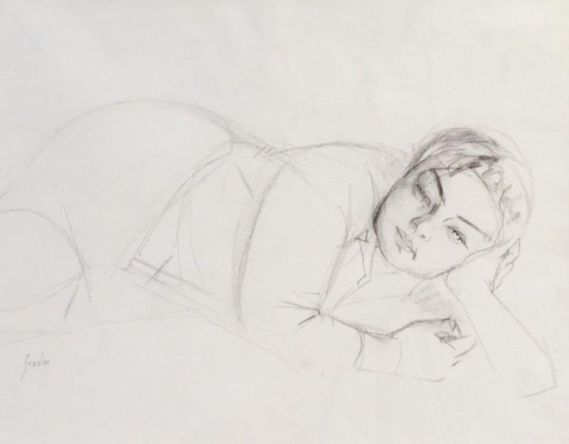 Porträt liegender Frau, Kopf aufstützend, verso femme couchée, datiert 01