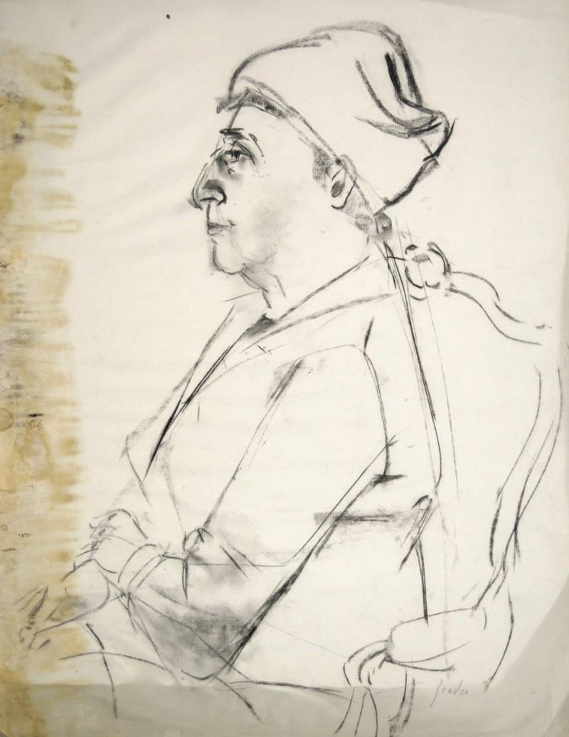Skizze, Porträt Frau sitzend mit Kopftuch