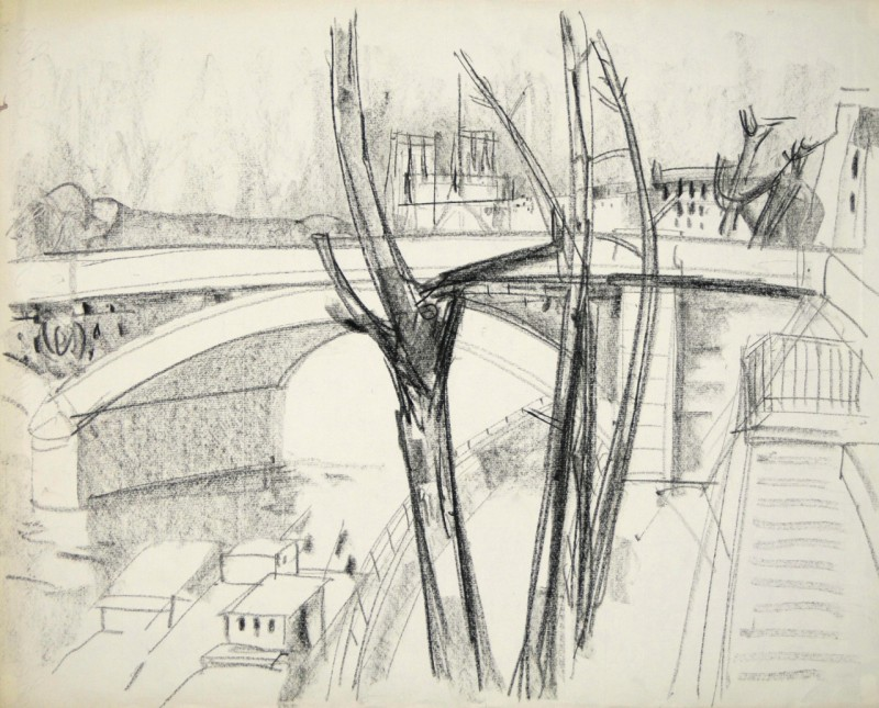 Kanallandschaft mit Brücke