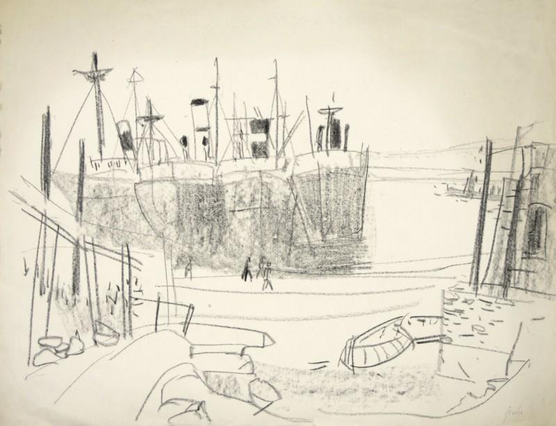 Skizze, Hafen mit vier Frachtern
