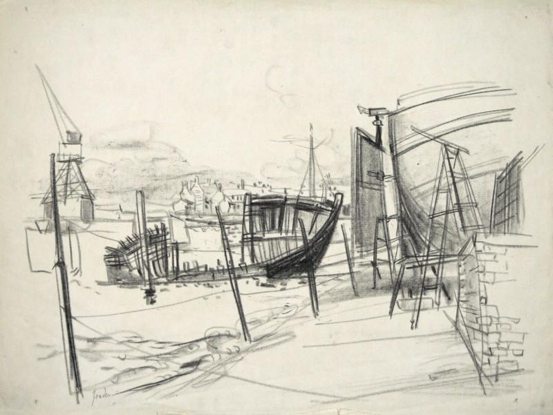 Schiffswrack im Hafen