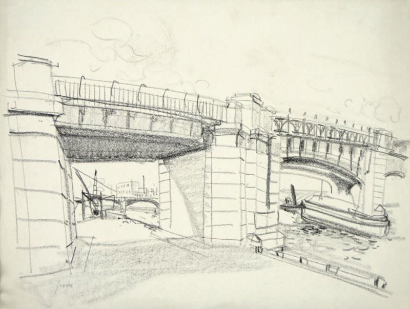 Flusslandschaft mit Brücke, verso Sandaufschüttung mit Burg am Meer