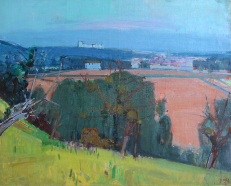 Landschaft mit rotem Feld, 1956