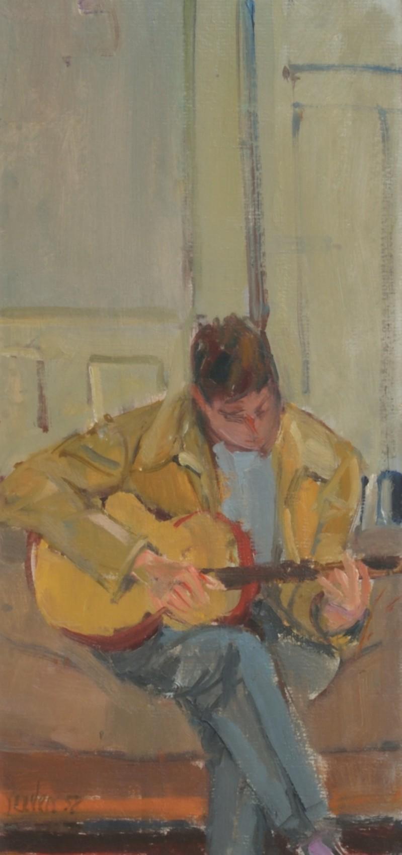 Sitzender Mann, Gitarre spielend, 1958