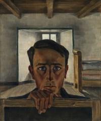 Selbstbildnis über den Bildrand schauend, um 1927