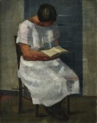 Bildnis der Schwester Margrit, lesend, um 1925