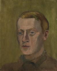Herrenporträt, könnte Emil Sträuli darstellen, 1920er Jahre, verso Frauenaktstudie