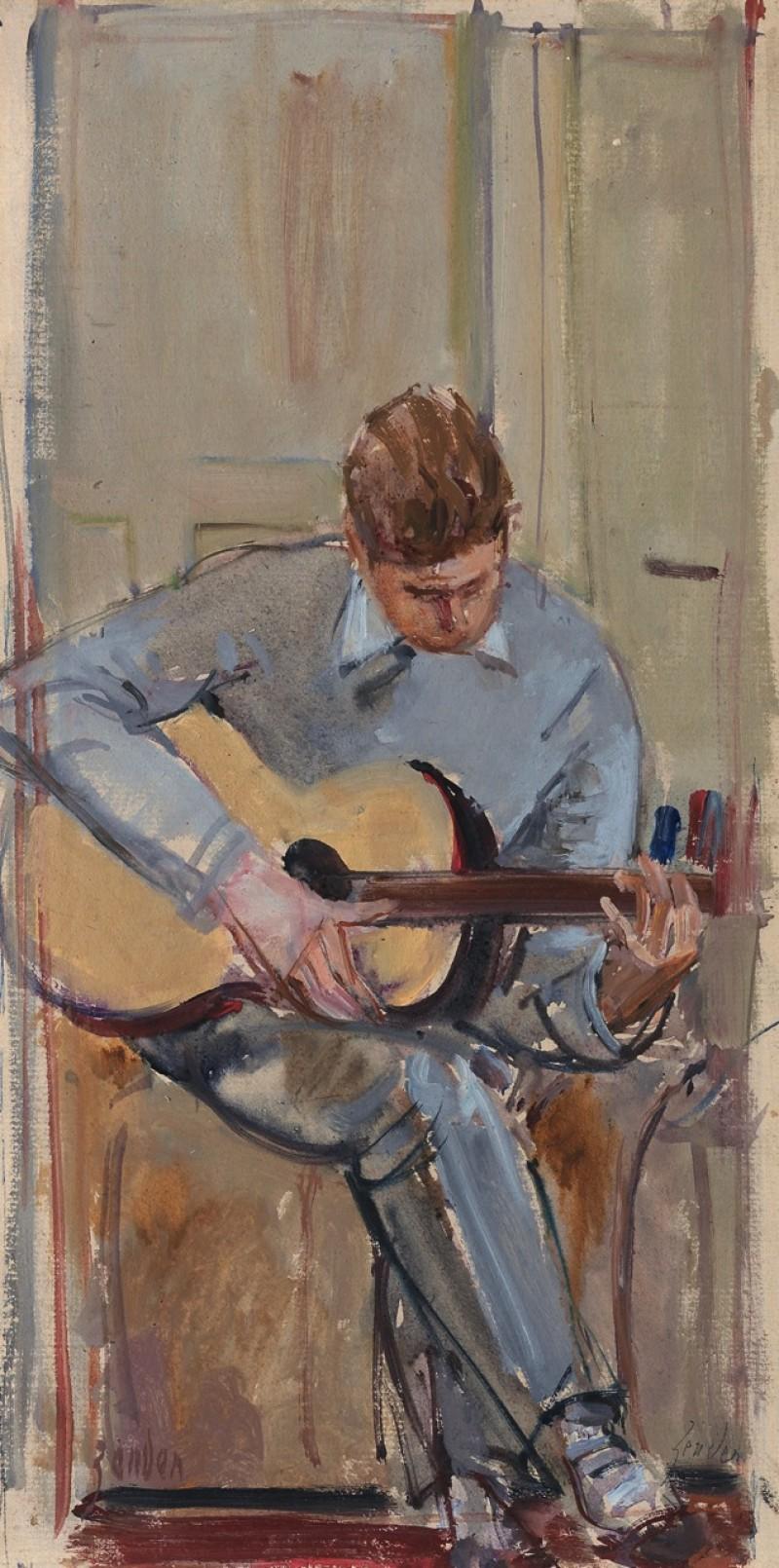 Jean-Caude Zehnder Gitarre spielend, Ende 1950er Jahre, verso Platanenallee