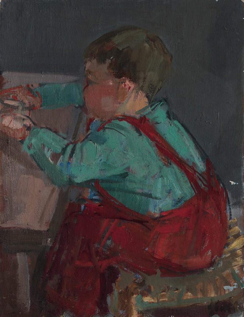 Der Knirps, der Kindergärtner Jean-Claude Zehnder am Tisch spielend, Winterthur ca