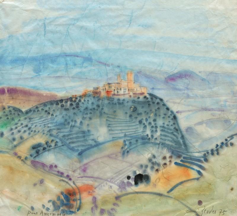 Toskana-Landschaft mit Dorf auf Hügel, 1975