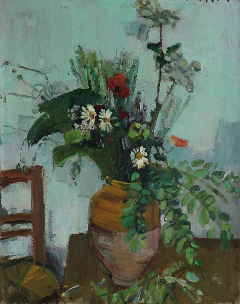 Blumenstrauss mit Mohn, Margeriten und viel Blättern, um 1956