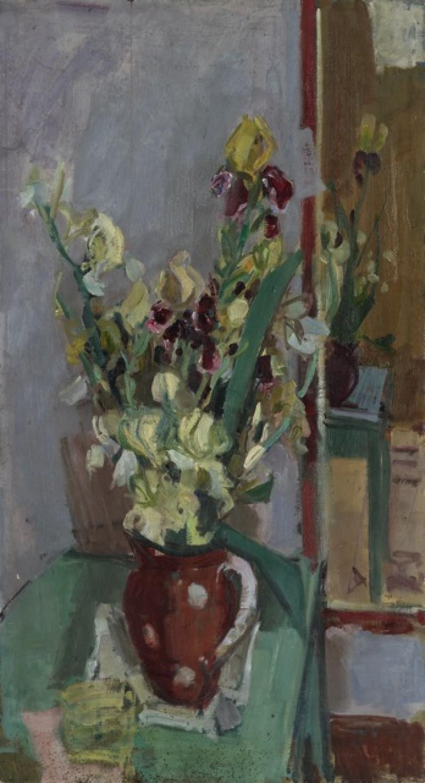 Selbstbildnis mit Palette, verso Blumenstrauss mit gelben Schwertlilien, um 1930