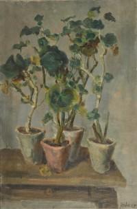 Geranien, 1925, verso Halbaktstudie