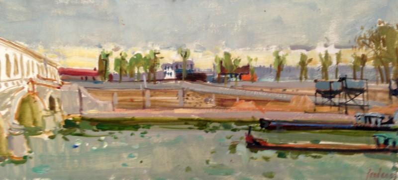 Kanallandschaft, rechts unten signiert und datiert: Zender 63, verso Ziehbrücke in Harlem (1963/4)