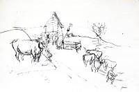 Kuhherde mit Scheune im Davosertal, um 1926