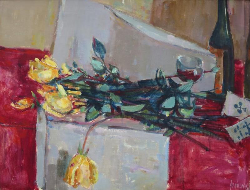 Stillleben mit gelben Rosen, 1960.