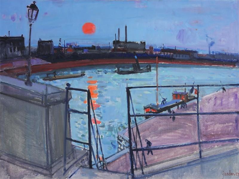 Hafen mit roter Sonne, 1955