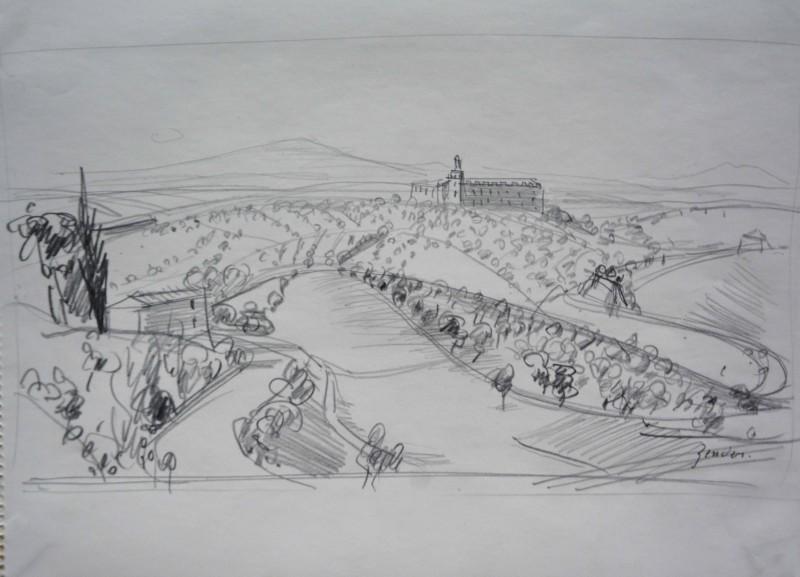 Landschaft mit Kloster im Hintergrund
