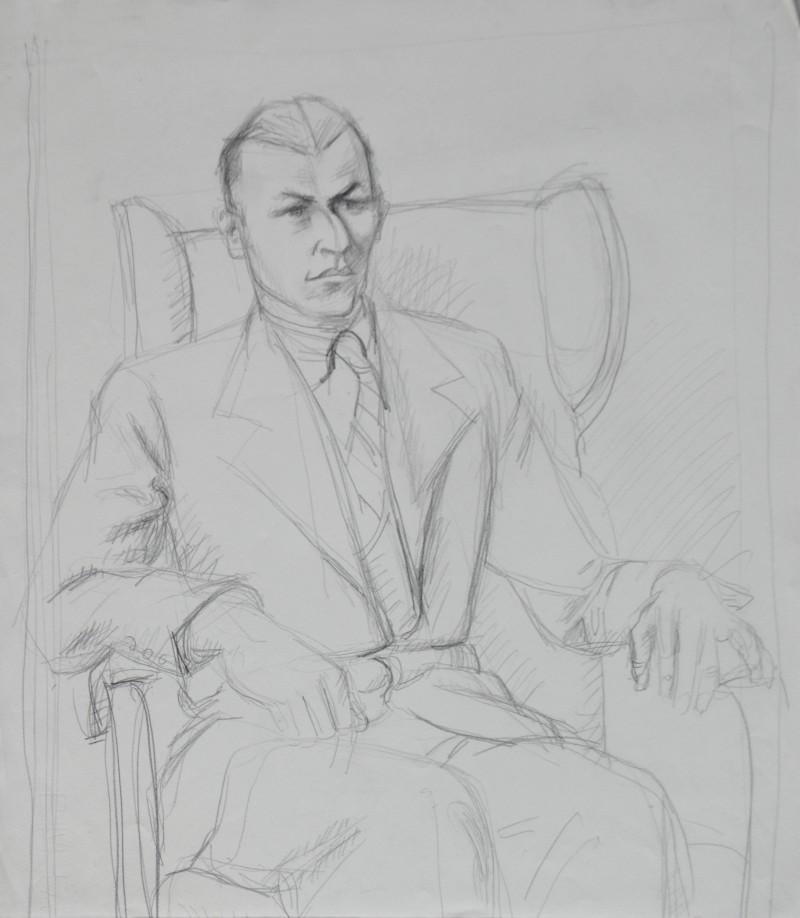 Porträt eines sitzenden Mannes in Anzug und Krawatte