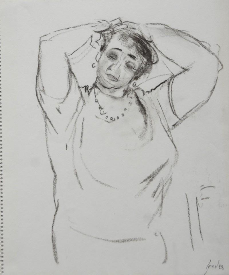 Porträt einer Dame mit den Armen auf dem Kopf