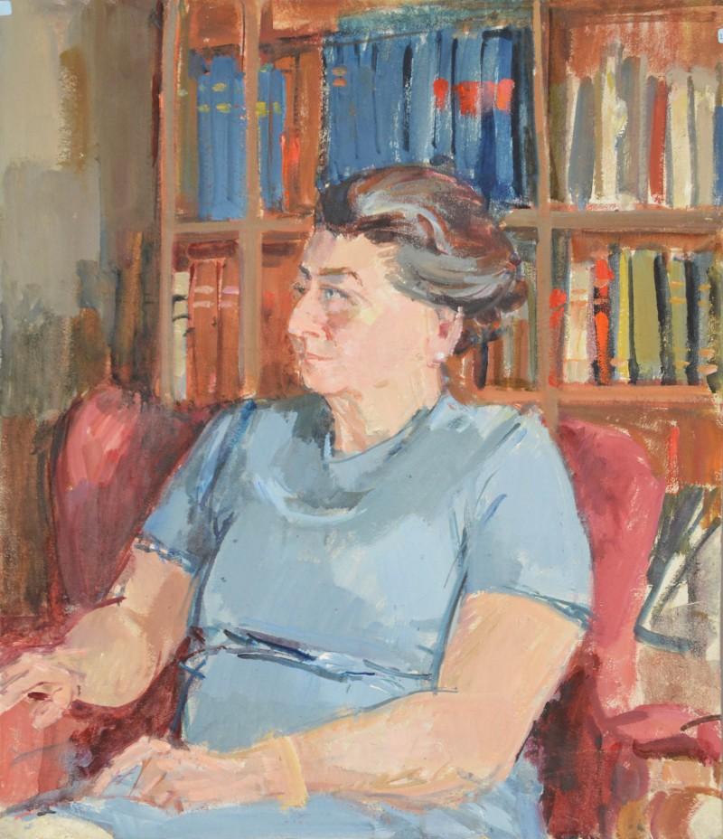 Porträt einer Dame  auf rotem Sessel sitzend, Madame Stärkle