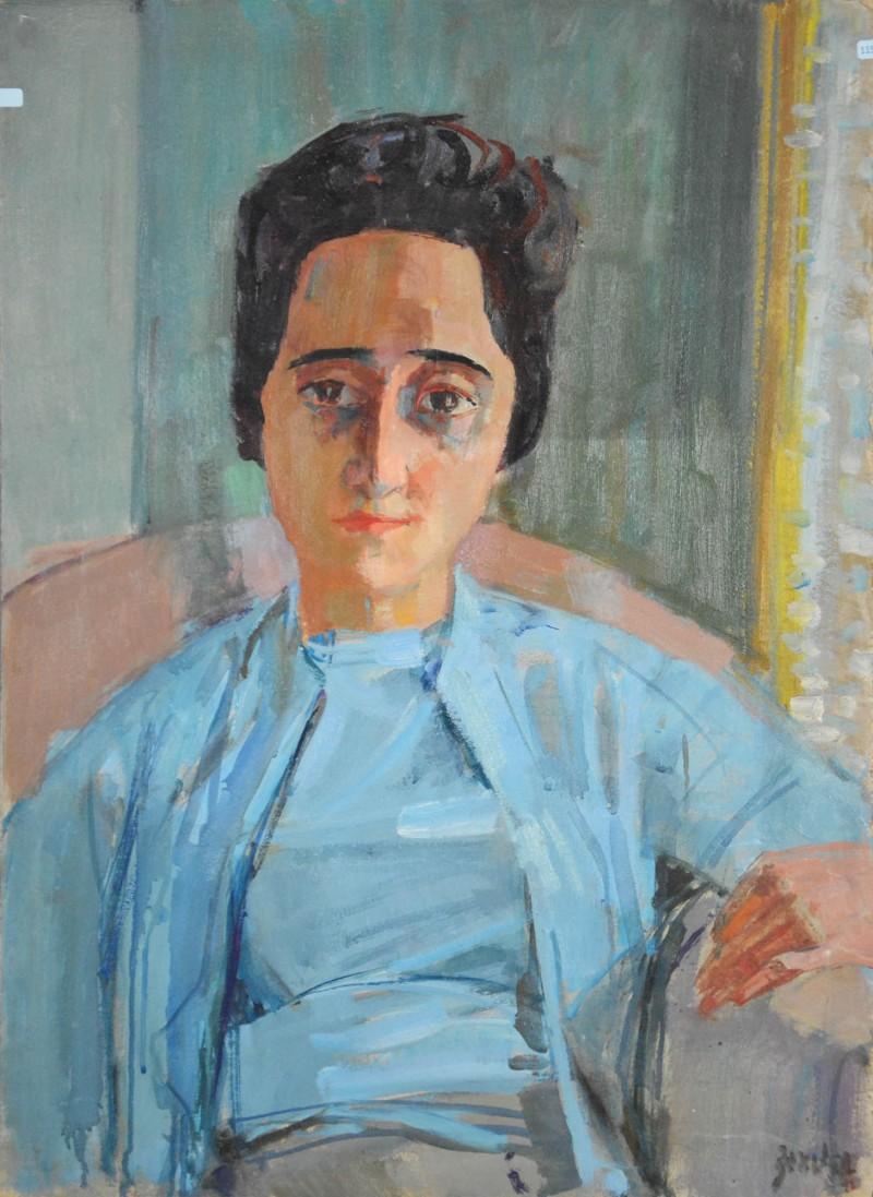 Porträt einer jungen Frau mit hellblauem Twinset, Contessa I